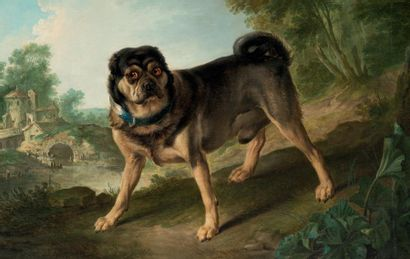 Christophe HUET (Pontoise 1700 - Paris 1759) Chien dans un paysage Sur sa toile d'origine...