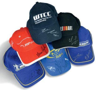 RALLYE WRC Lot de 6 casquettes dédicacées...