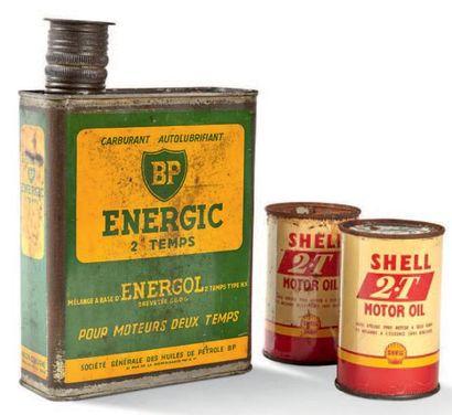 BP SHELL Lot de trois bidons d'huile BP Energic...