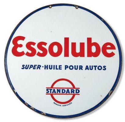 ESSO Plaque émaillée biface Essolube Emaillerie...