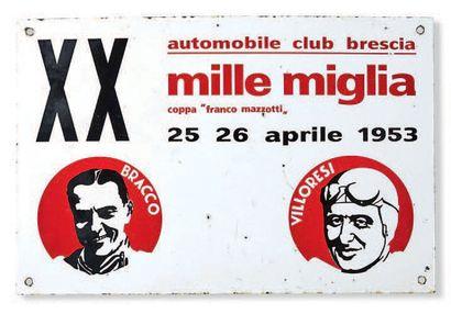MILLE MIGLIA Plaque émaillée de la 20ème...