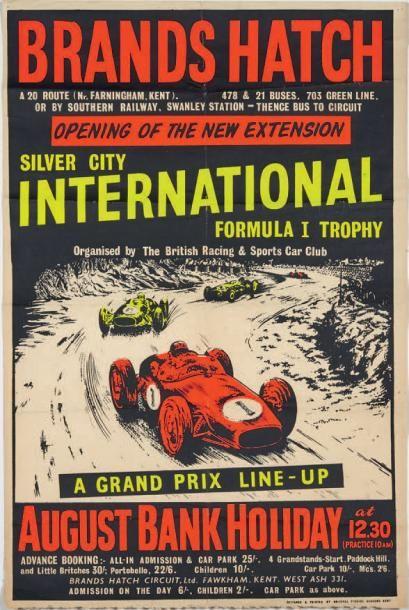 GRAND PRIX DE BRANDS HATCH 1960 Affiche originale...