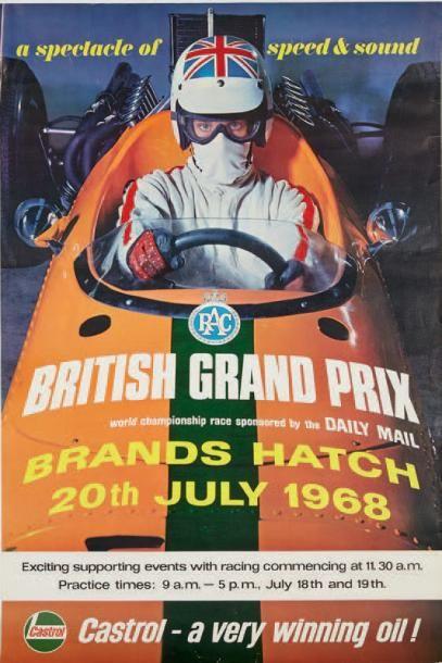 GRAND PRIX DE BRANDS HATCH 1968 Affiche originale...