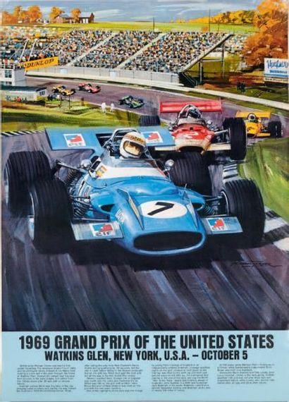GRAND PRIX DES ETATS UNIS 1969 Affiche originale...