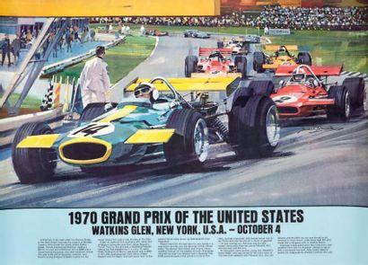 GRAND PRIX DES ETATS UNIS 1970 Affiche originale...