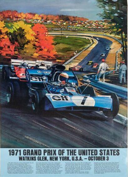 GRAND PRIX DES ETATS UNIS 1971 Affiche originale...