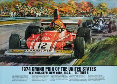 GRAND PRIX DES ETATS UNIS 1974 Affiche originale...