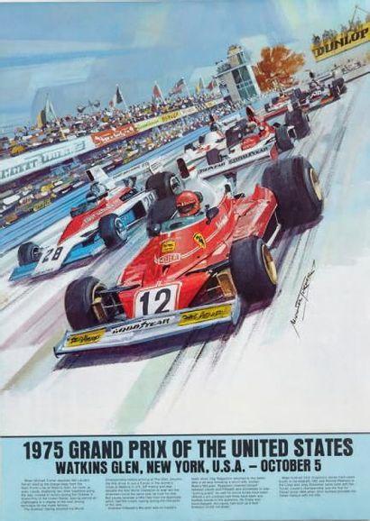 GRAND PRIX DES ETATS UNIS 1975 Affiche originale...