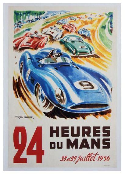 24 HEURES DU MANS 1956 Affiche originale...