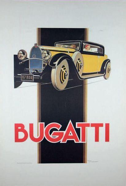 René VINCENT Affiche publicitaire Bugatti...