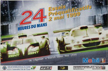 ESSAIS 24 HEURES DU MANS Lot de 5 affiches des éditions 1995, 1996, 1997, 1998 et...