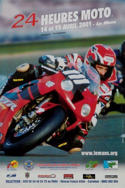 24 HEURES DU MANS MOTO Lot de 3 affiches des éditions 1990, 2000 et 2001. Très bon...