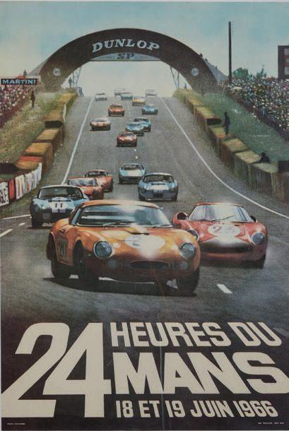 24 HEURES DU MANS 1966 Affiche originale D'après une photo de Delourmel Imp. Thivillier...