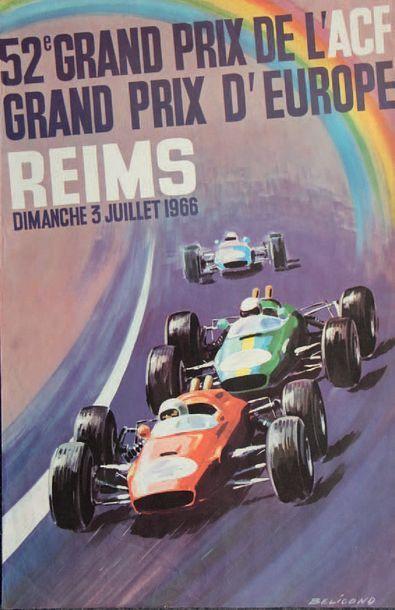 GRAND PRIX DR REIMS 1966 Affiche originale...
