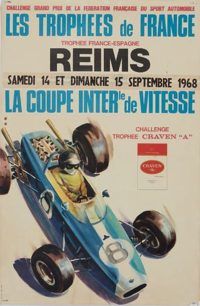 LES TROPHEES DE FRANCE 1968 Circuit de Reims Affiche originale Imp. Thivillier Bon...