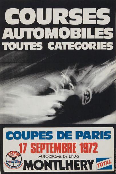 COUPES DE PARIS 1972 Affiche originale Autodrome...