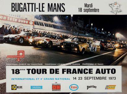 TOUR DE FRANCE AUTO 1973 Affiche originale sur papier glacé D'après une photo de...