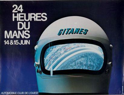 24 HEURES DU MANS 1975 Affiche originale Maquette je rousseau, d'après une photo...
