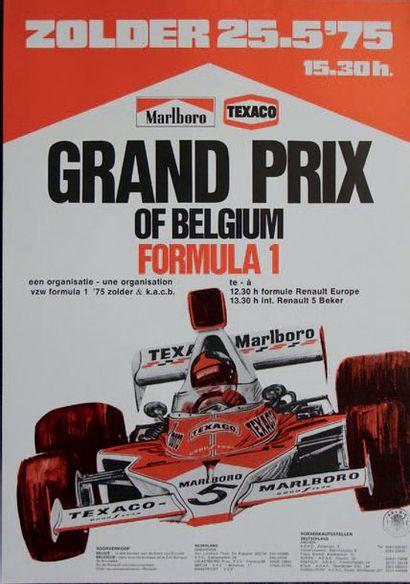 GRAND PRIX DE BELGIQUE 1975 Affiche originale...