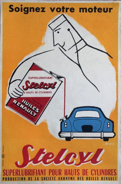 HUILES RENAULT Affiche original promotionnelle...