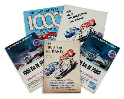 1000 KM DE PARIS Lot de 5 programmes officiels...