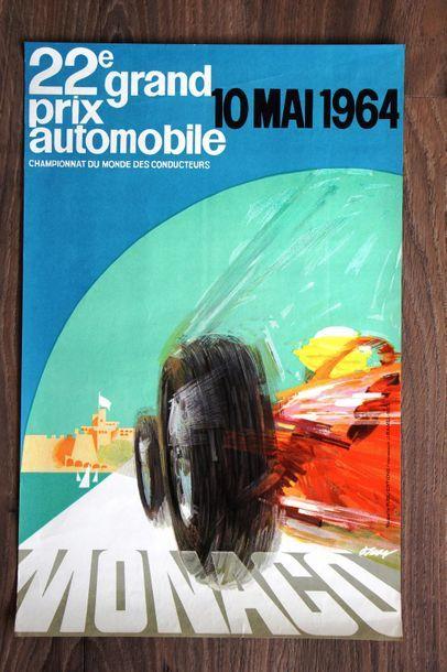 GRAND PRIX DE MONACO 1964 Affiche originale D'après un dessin de J. May Maquette...