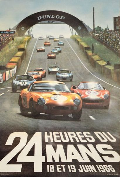24 HEURES DU MANS 1966 Affiche originale...