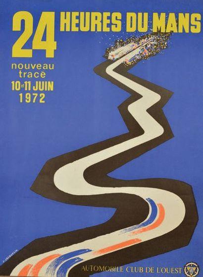 24 HEURES DU MANS 1972 Affiche originale D'après un dessin de J. Jacquelin Edition...