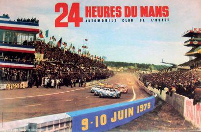 24 HEURES DU MANS 1973 Affiche originale contrecollée sur carton Editions Le pilier...
