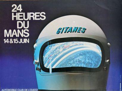 24 HEURES DU MANS 1975 Affiche originale Maquette Je Rousseau D'après une photo...