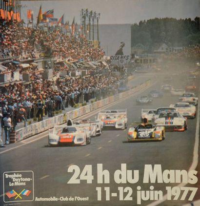 24 HEURES DU MANS 1977 Affiche originale Maquette Moreillon + Schweizer Très bon...