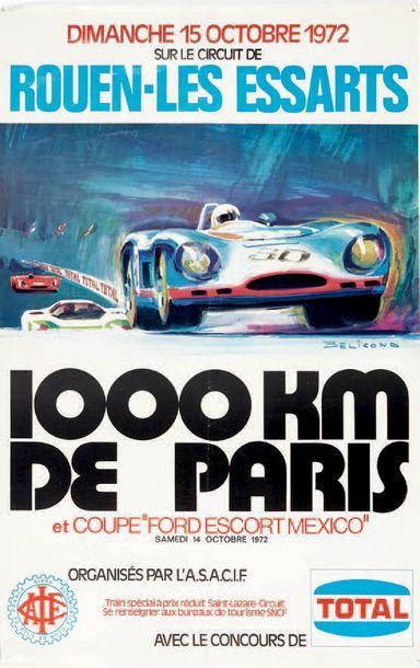 1000 KM DE PARIS 1972 Circuit Rouen les Essarts Affiche originale D'après un dessin...
