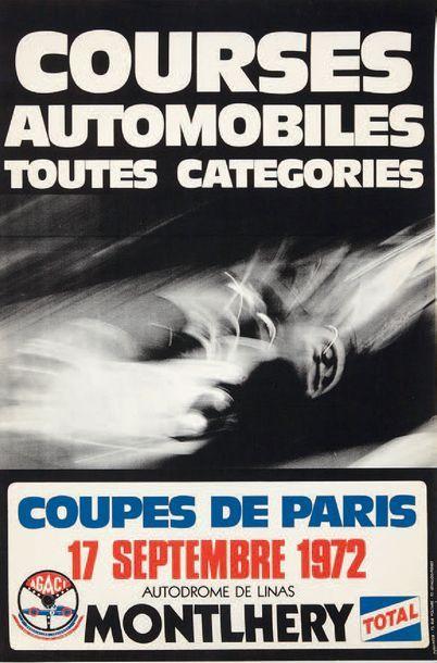 COUPES DE PARIS 1972 Affiche originale Autodrome Linas Montlhery Edition Punli-Inter...