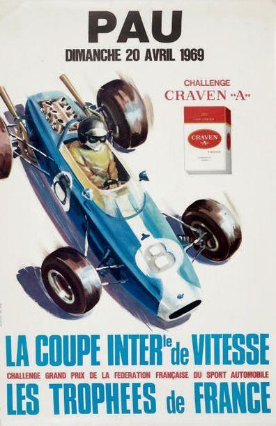 COUPE INTERNATIONALE DE VITESSE 1969 Circuit de Pau Affiche originale Imp. Thivillier...