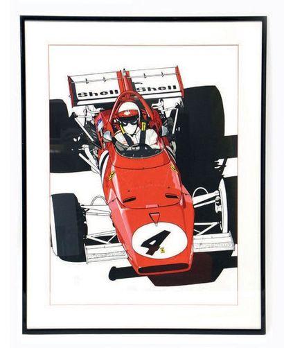Michel RAIMON Très belle lithographie représentant la Ferrari de Clay Regazzoni vainqueur...