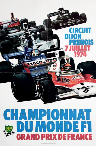 GRAND PRIX DE FRANCE 1974 Affiche originale...