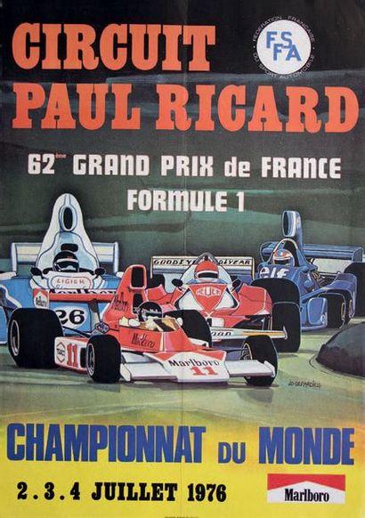 GRAND PRIX DE FRANCE 1976 Affiche originale D'après un dessin de JD Depardieu Imp....