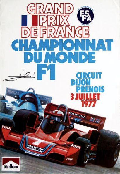 GRAND PRIX DE FRANCE 1977 Affiche originale dédicacée par le vainqueur de la course...