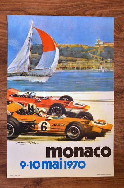 GRAND PRIX DE MONACO 1970 Affiche originale D'après un dessin de Micheal Turner...