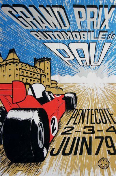 GRAND PRIX DE PAU 1979 Affiche originale cartonnée D'après une maquette de Seripro-pay...