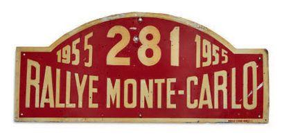 RALLYE MONTE CARLO 1955 Plaque de rallye de l'équipage 281Trolliet / Nicol sur Salmson...