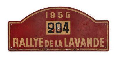 RALLYE DE LA LAVANDE 1955 Plaque de l'équipage 204 Etat d'usage