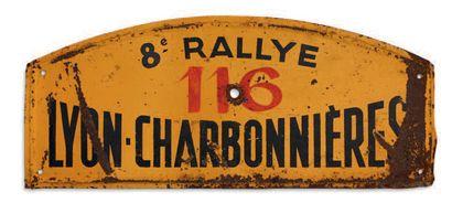 RALLYE LYON CHARBONNIERES Plaque de l'équipage 116 Edition 1955 Etat d'usage