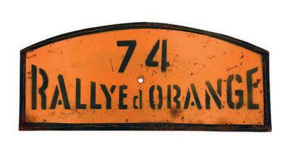 RALLYE D'ORANGE Plaque de l'équipage 74 Circa 1950 Etat d'usage