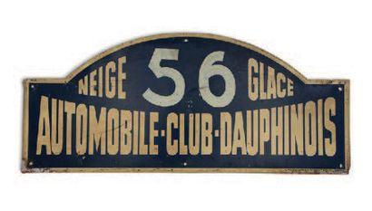 RALLYE NEIGE ET GLACE Plaque de l'équipage 56 Circa 1950 Etat d'usage