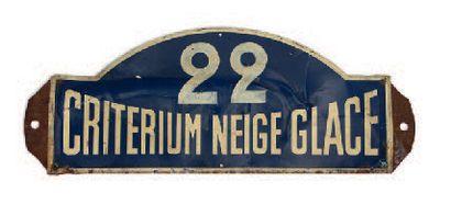 CRITERIUM NEIGE ET GLACE Plaque de l'équipage 22 Circa 1950. Etat d'usage