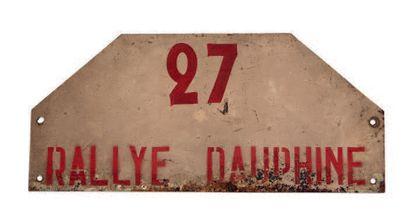 RALLYE DAUPHINE Plaque de l'équipage 27 Circa 1950. Etat d'usage