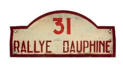 RALLYE DAUPHINE Plaque de l'équipage 31 Circa 1950 Etat d'usage