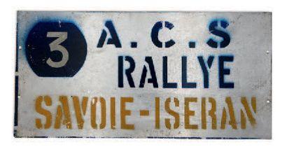 RALLYE SAVOIE ISERAN Plaque de l'équipage 3 Circa 1960 Etat d'usage