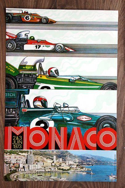 GRAND PRIX DE MONACO 1973 Affiche originale Creation/édition J. Ramel à Nice Exemplaire...